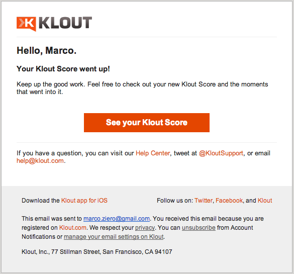 Klout Score Email Marketing